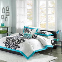 Mi Zone Florentine  Cotton Print 4 Piece Comforter Set, Blue