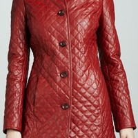 WOMEN RED COLOR QUILTED LEATHER COAT, LONG LEATHER JACKET FOR WOMEN