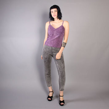 80s ACID WASH Skinny JEANS / High Waist Fitted Ankle Bows Pants, xs