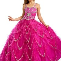 Little Girls Beauty Pageant Dress with Glitz Ball Gown Skirt 1420, Pink Violet, 6