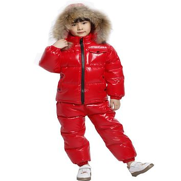 KABULANDY Russian Winter Real Fur Children Clothing Set Down Boys Snowsuit Baby Outerwear Waterproof Girls Jackets Kids Clothes