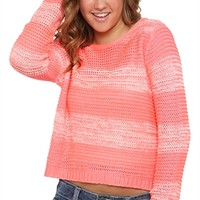 Neon Pink Striped Sweater with Scoop Back