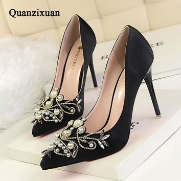 Women Pumps Elegant Silk Satin High Heels Shoes Autumn Flower Beaded Sexy Women Shoes