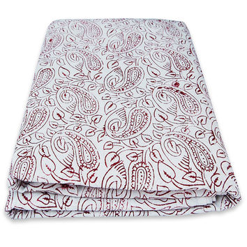 Exotic Bohemian Design Indian Hand Printed Cotton Fabric By The Yard White Bleached Pure Cotton Fabric Multi Purpose For Making Shirt/Dress