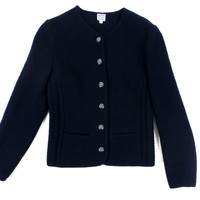 Women's Brooks Brothers Felted Wool Jacket - Dark Navy Blue Sweater Jacket Blouse - Ivy League - Women's Size 6 Small