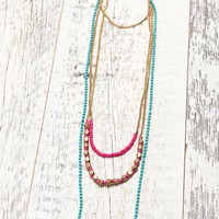 Me To We Teal & Pink Brass Layered Necklace - Womens Jewelry - Blue - One