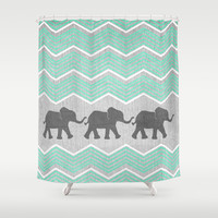 Three Elephants - Teal and White Chevron on Grey Shower Curtain by Tangerine-Tane | Society6