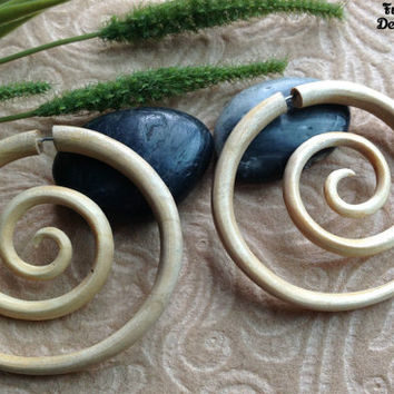 "Fake Gauge Earrings, ""XXL Spiral"" Naturally Organic, Crocodile Wood, Hand Carved, Tribal"