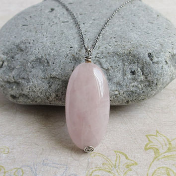 Rose Quartz Necklace, Sterling Silver, Large Rose Quartz Pendant, Pink Gemstone, Oxidized Silver, Boho Jewelry