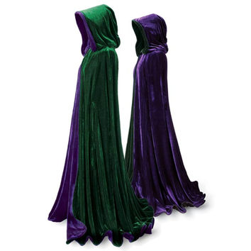 Emerald and Purple Velvet Cape