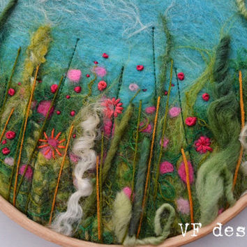 Pinks original handmade felt and embroidery flowers and green picture hoop