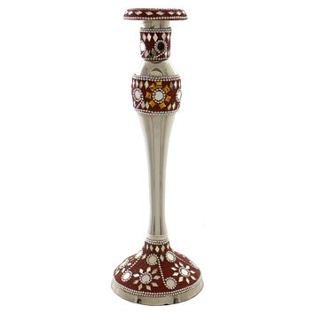 Tabletop MIRROR RED CANDLE STICK Metal Stones Silver Plated 66895