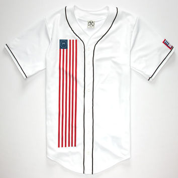Civil Down Flag Mens Baseball Jersey White  In Sizes