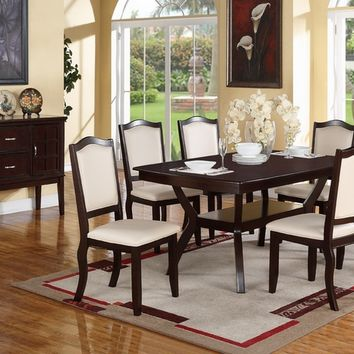 Poundex F2290-1358 7 pc freemont collection dark espresso finish wood dining table set with padded seats