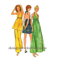 HALTER DRESS Pattern Maxi Halter Dress Halter Top & Pants Size 5 Junior Petite Simplicity 6655 Boho UNCuT 70s Petite Sewing Patterns Bust 31