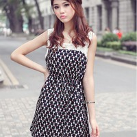 Women's Sweet Dress With Splicing Lace Shoulder and Cat Pattern Print Design
