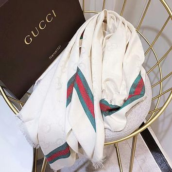 GUCCI New Popular Women Men Cashmere Smooth Silk Tassel Cape Scarf Scarves Shawl Accessories White