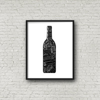 Wine Bottle With Different Types of Wine, Modern Wall Art, Instant Download, Printable Art, Digital Art Print, Wine Bottle, Wall Decor, Art