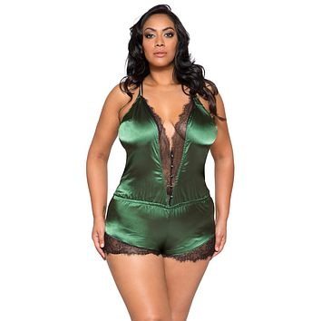 8fba588bdc22b Sexy Lux Plus Size Satin and Eyelash Lace Green Romper