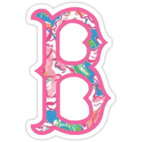 "Lilly Pulitzer Red Sox ""B"" by meghanweston"