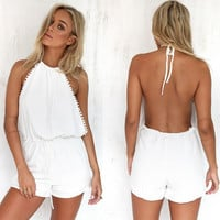 Summer Sexy Backless Lace Jumpsuit Beach Romper [5024157444]