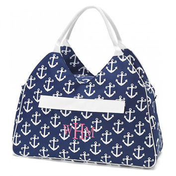 Large Beach Bag Tote Navy Anchors Nautical Monogrammed Personalized Pool