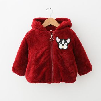 Kids Girl Boy Fur Coat For Girl winter 2017 Fashion Jacket Cartoon Dog Overcoat thick warm Furry Jacket 4T Cotton-padded Hoodies