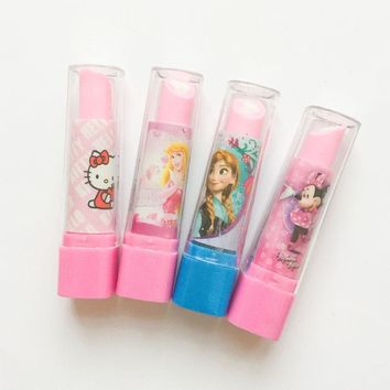 1PC Hello Kitty Mouse Princess Lipstick Design Eraser Rubber Erasers Correction School Office Supply Student Stationery Kid Gift