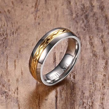 6MM Beautiful Two-Tone Titanium Ring with Ion Plated Gold Tone Crosshatched Center Wedding Band for Women Jewelry