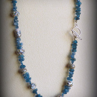 Apatite Necklace with Lampwork Beads and Sterling Silver, Statteam