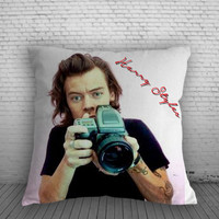 1D Harry Styles with Cameras Pillow, Pillow Case, Pillow Cover, 16 x 16 Inch One Side, 16 x 16 Inch Two Side, 18 x 18 Inch One Side, 18 x 18 Inch Two Side, 20 x 20 Inch One Side, 20 x 20 Inch Two Side