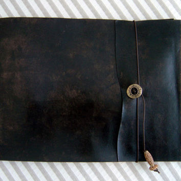 Large Refillable Artist's Sketchbook  Black by ZenfishLeather