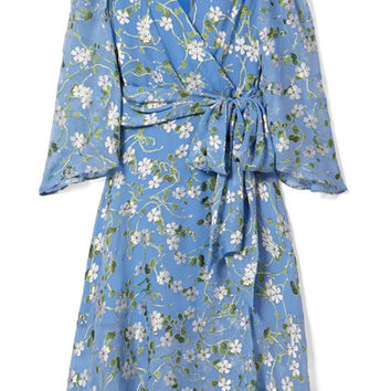 Alice + Olivia - Halsey belted floral-print devoré-chiffon dress