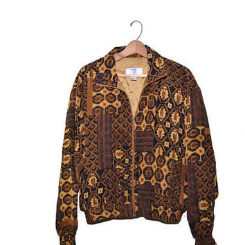 Vintage Silk Bomber Jacket Safari Bomber Jacket Aztec Bomber Jacket 80s Windbreaker 80s Abstract Print Bomber Jacket
