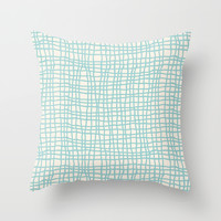 Blue Scribbles 06 Throw Pillow by Aloke Design