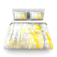"CarolLynn Tice ""Abstraction"" Grey Yellow Queen Cotton Duvet Cover - Outlet Item"