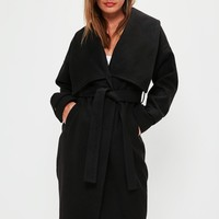 Missguided - Premium Black Belted Waterfall Coat