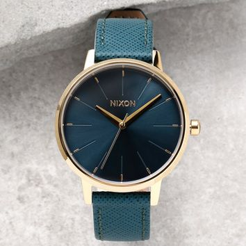 Nixon Kensington Leather Light Gold and Mallard Watch