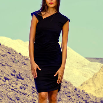 black jersey dress, black dress, asymmetric dress, draped dress, party dress
