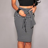 Brand Skirts Womens High Waist Stripe Lacing Skirt Plus Size White Black Sexy Bodycon Long Skirt Women faldas jupe saias winter