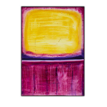 Original Pink Yellow Abstract Art on Canvas,  ,  47x32 inch, Original Modern Wall Art , Textured Painting, Free Shipping !