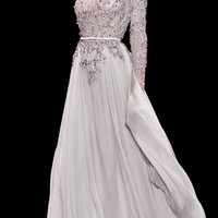 Rhine Elie Saab wedding dresses 2014 Couture Lace with Tulle Long Sleeve Shiny Beads and Sequin Modest Floor long dress fully Sequins Length Evening Dress Prom Gown 712458
