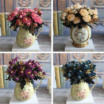 Hot Realistic 6 Branches Blue Autumn Artificial Fake Peony Flower Arrangement Wedding Hydrangea Home Decor Flores Artificiales