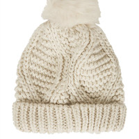 Fur Pom Cable Beanie - Hats - Bags & Accessories - Topshop
