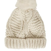 Fur Pom Cable Beanie - Hats - Bags & Accessories - Topshop USA