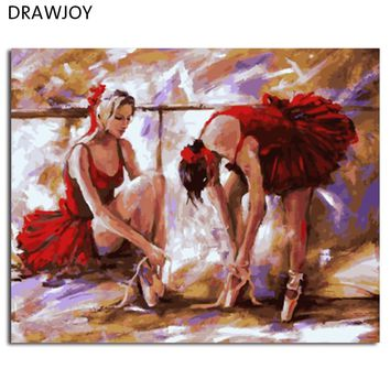 DRAWJOY Framed Ballet Girls DIY Painting By Numbers Wall Art For Living Room Canvas Oil Painting For Home Decor 40*50cm
