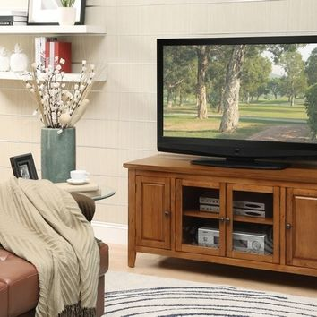 Acme 10342 Christella collection contemporary styled oak finish wood tv stand with glass front cabinet