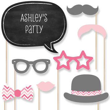 Baby Shower Photo Booth Props Kit - Chevron Pink