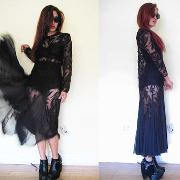 Vintage Collectible 40's 50's black lace Great Gatsby evening gown cocktail party wedding maxi dress