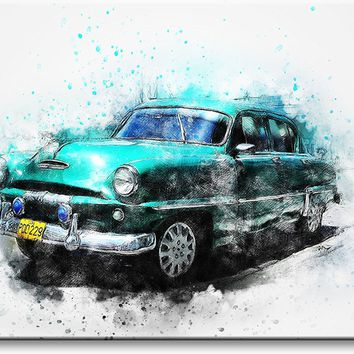 Classic Antique Blue Car Picture on Stretched Canvas, Wall Art Décor, Ready to Hang
